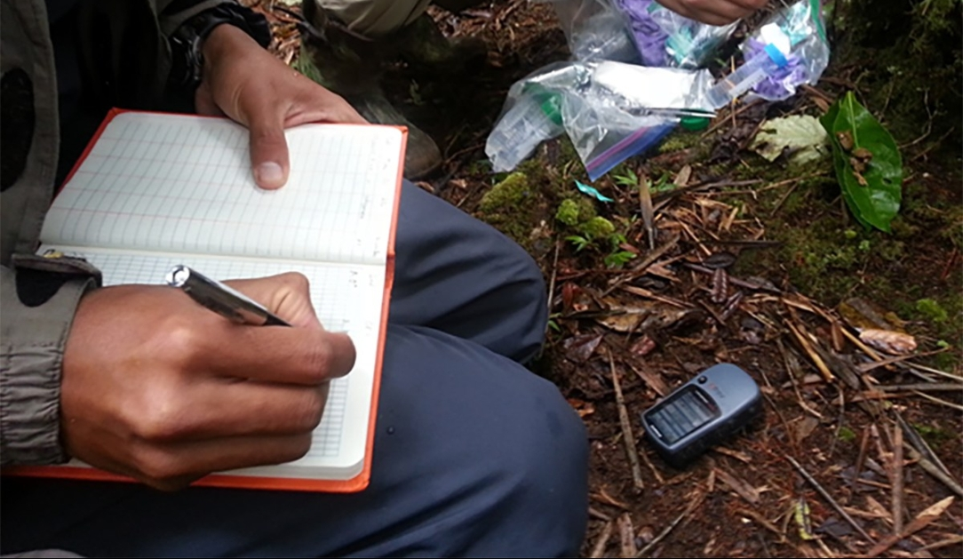 Noting GPS Coordinates of the wildlife groups. Photo: Sabrina Szeto.