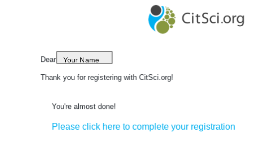 Email Confirmation for CitSci Account