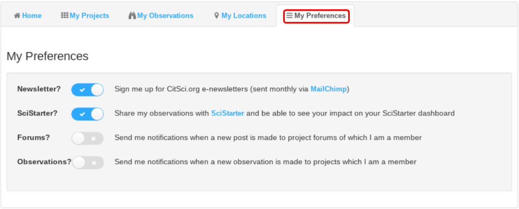 Preferences Tab and Options Highlighted in User Profile