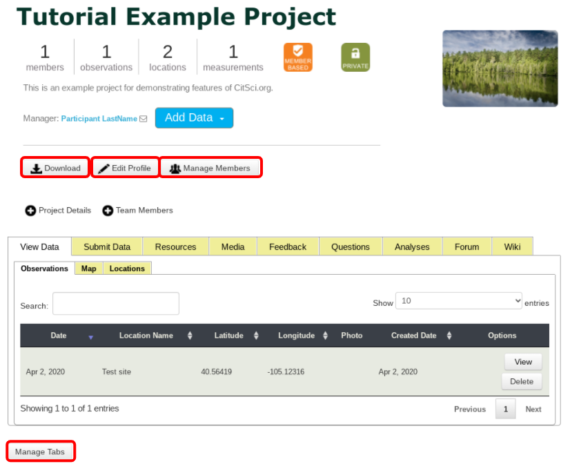 Project Profile Editing Options Highlighted in Project Profile