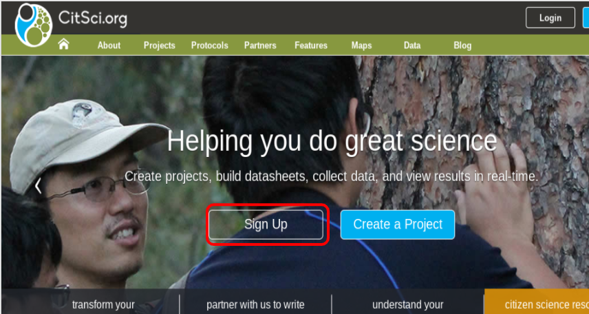 Sign Up Link Highlighted on Home Page